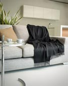Woven Cashmere Throw Blanket with Fringes