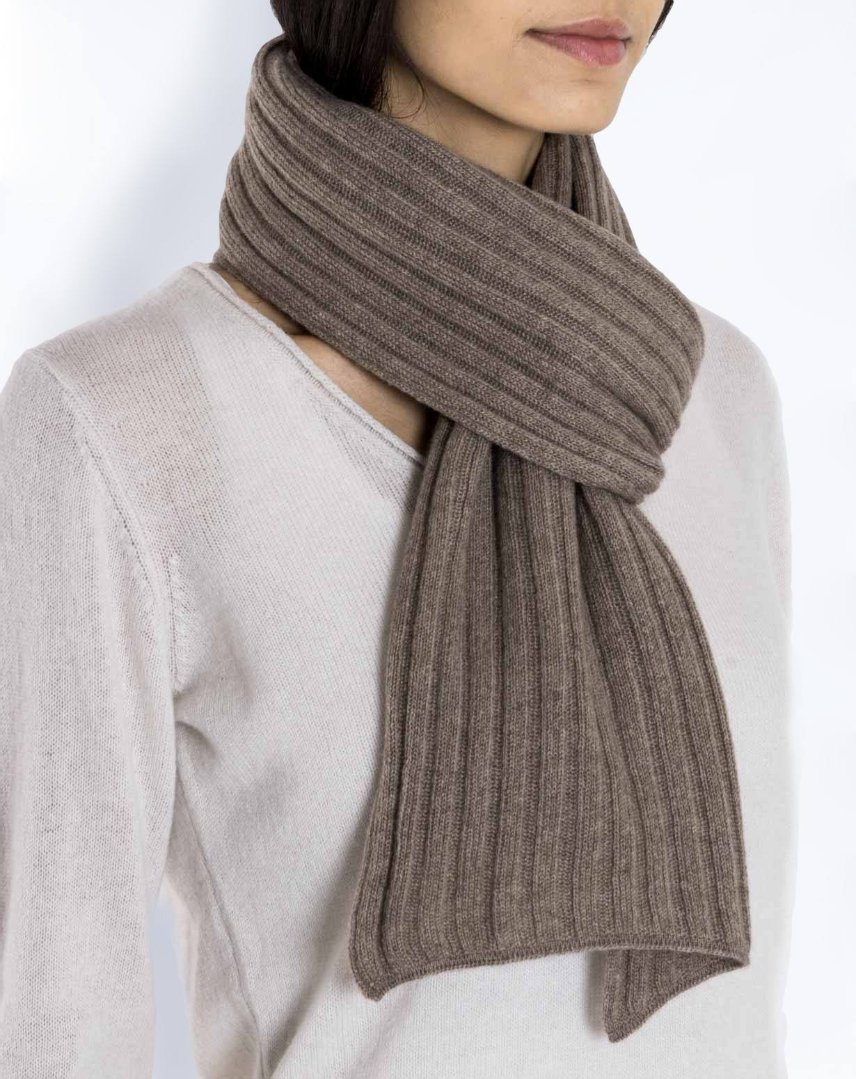 Pure Cashmere Ribbed Scarf