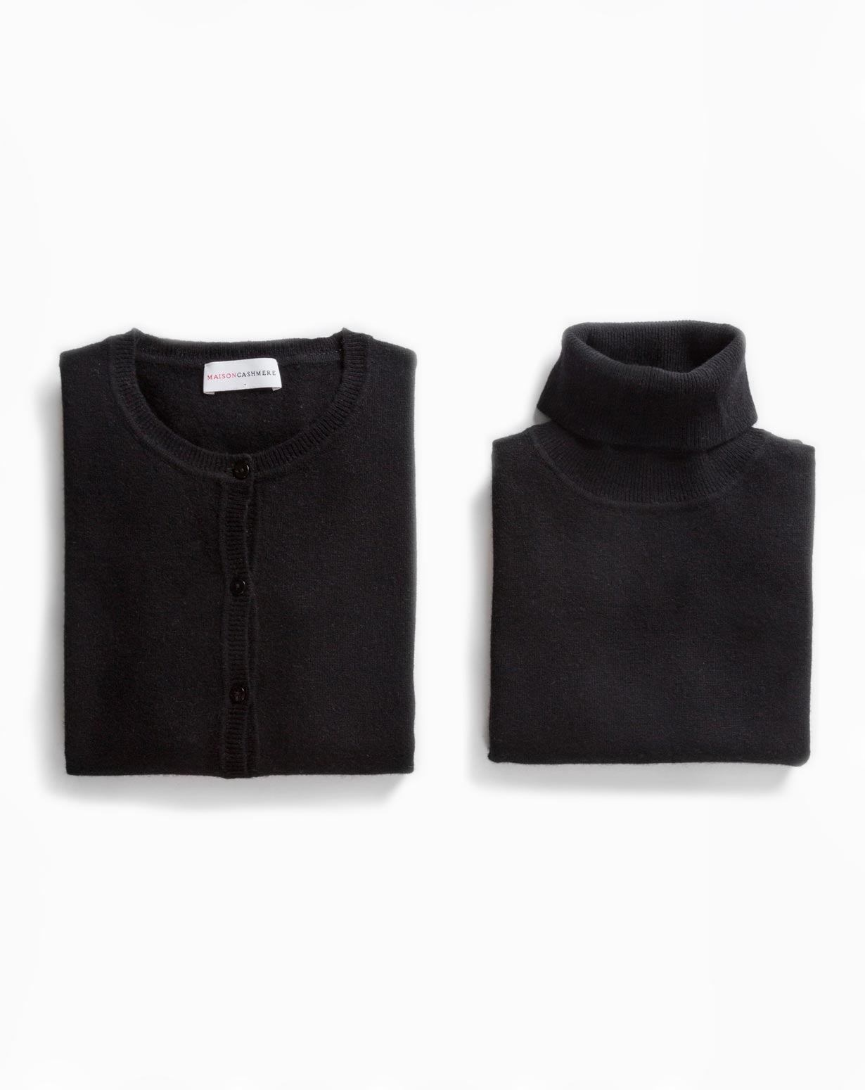 Women's Black Twinset - Cardigan & Turtleneck Vest
