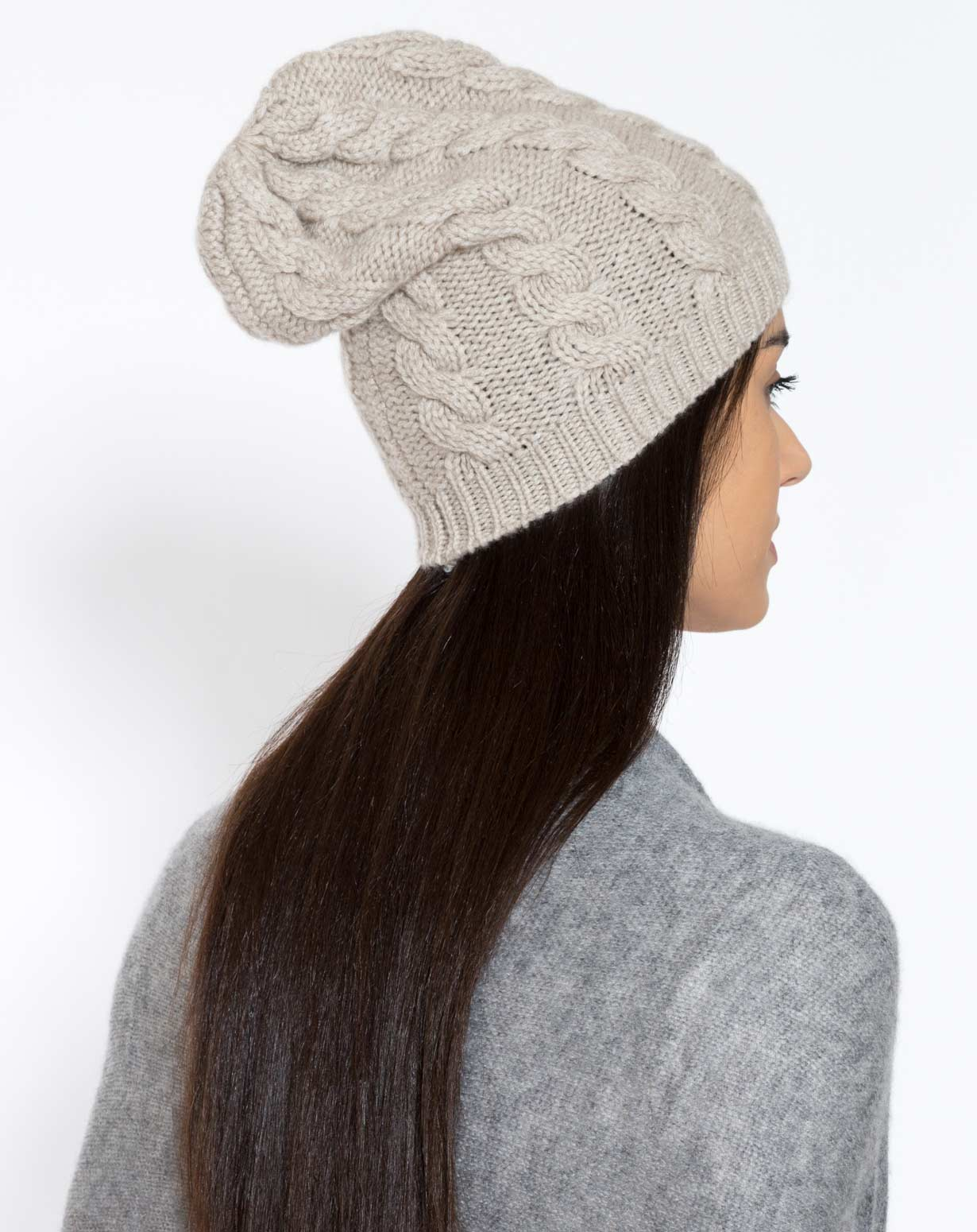 Women's Pure Cashmere Cable Knit Beanie
