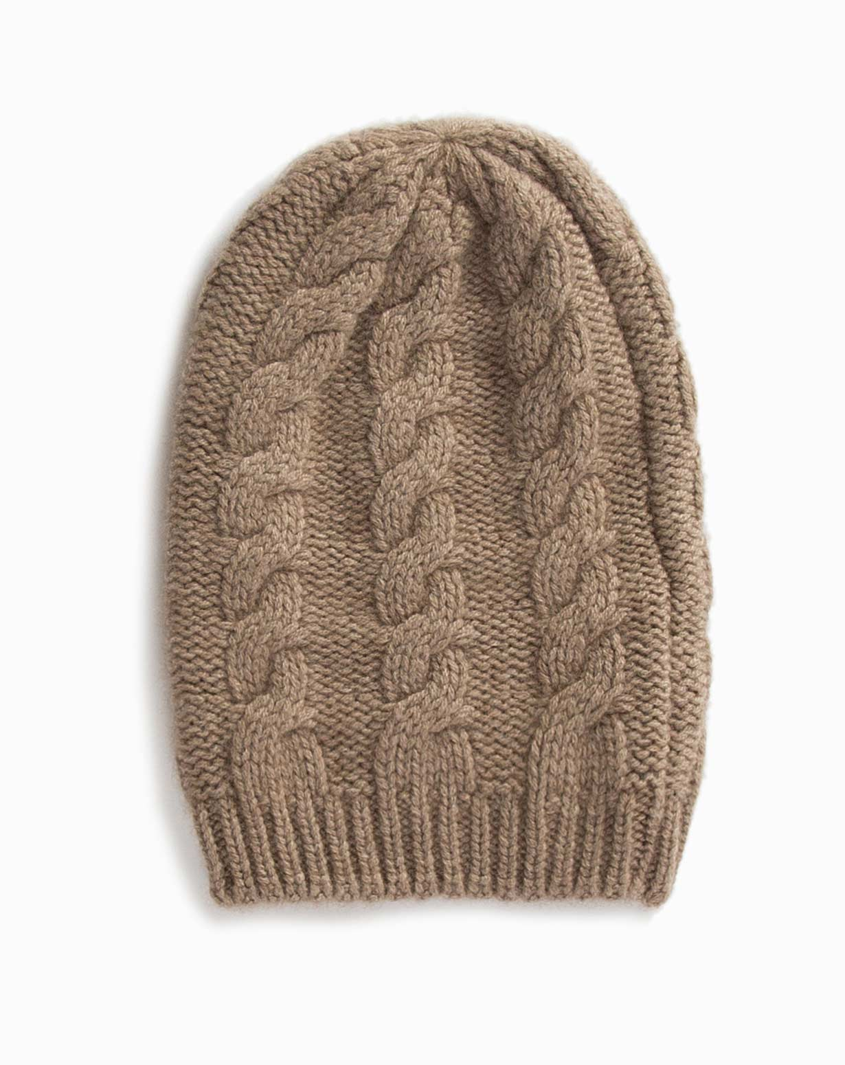 Knitting Pattern For Cashmere Beanie : Ladies Cashmere Cable Knit Beanie