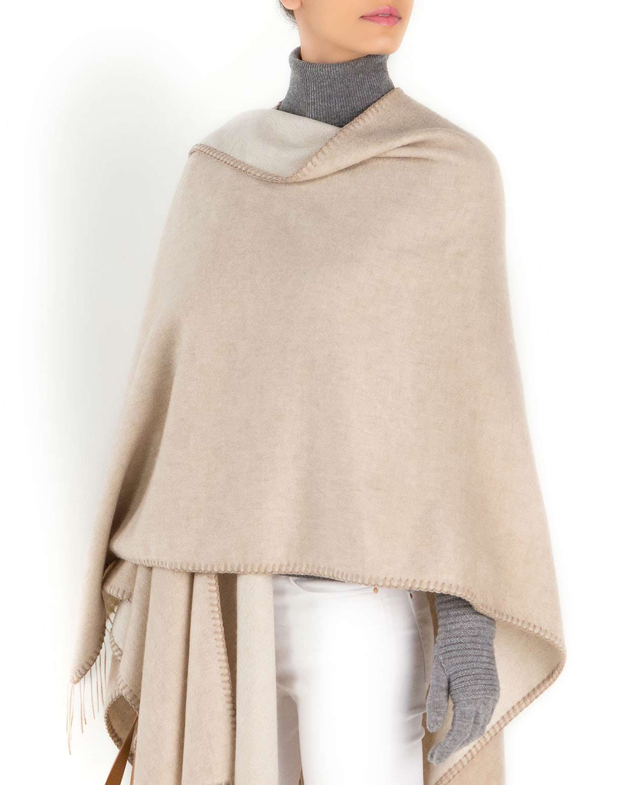 Elegant Woven Cashmere Cape with Fringes