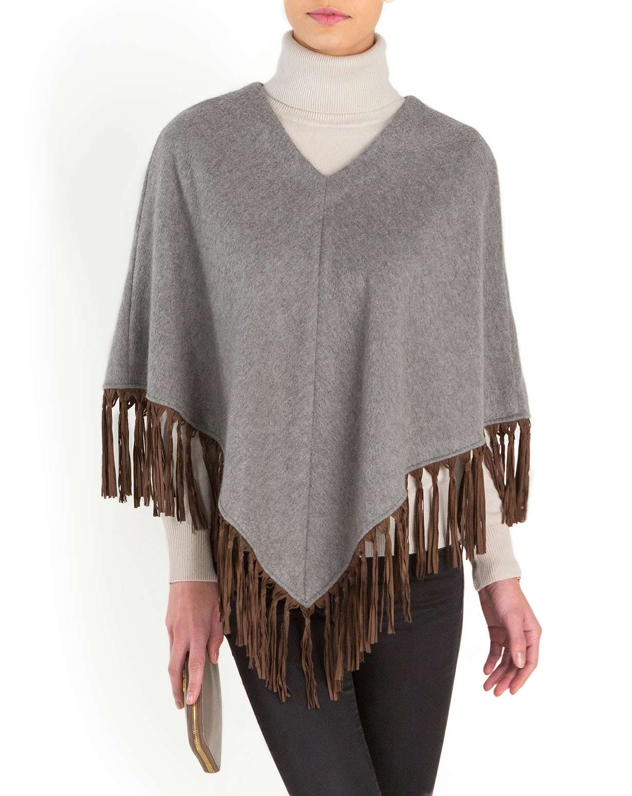 Exclusive Woven Cashmere Poncho with Leather Fringes