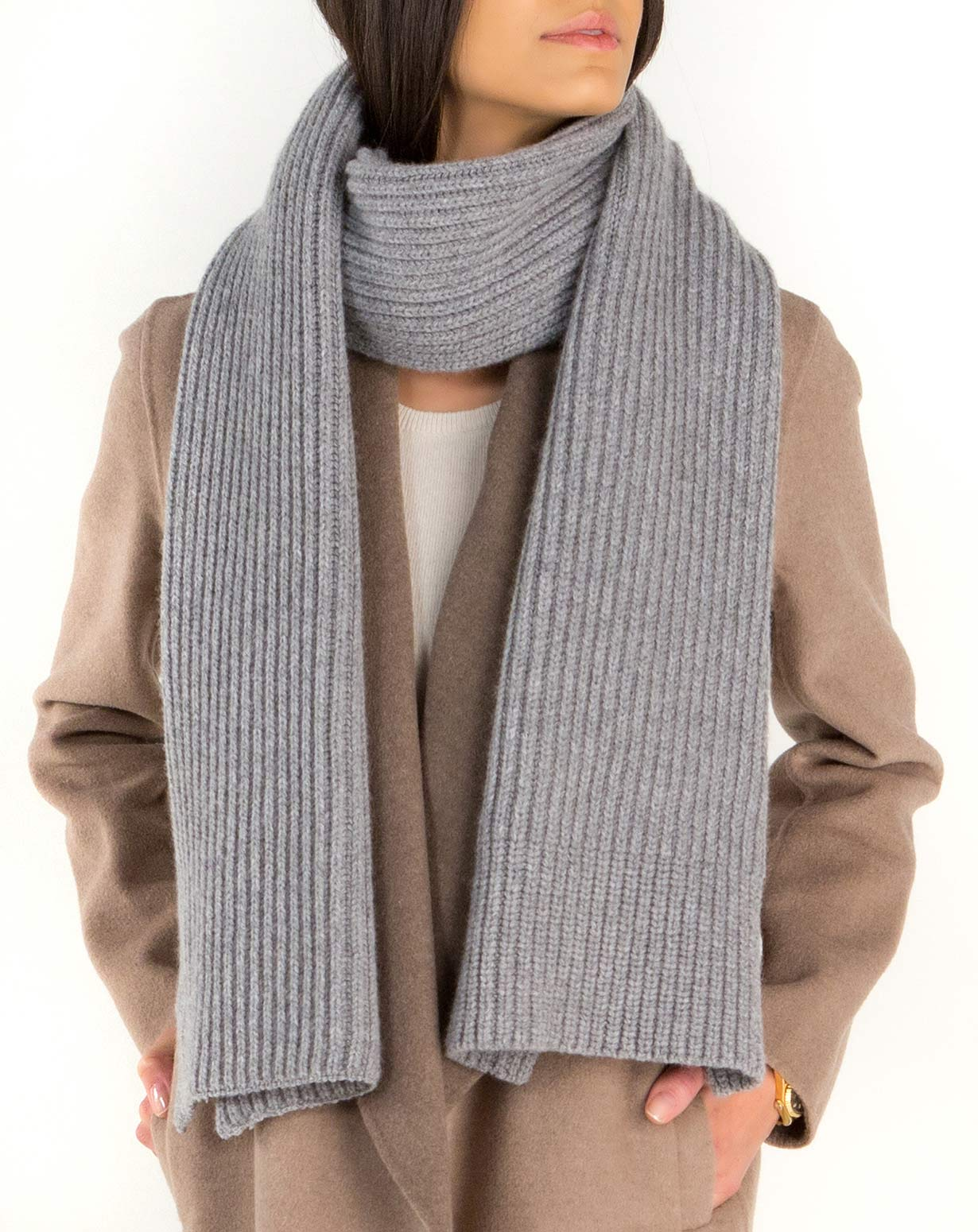 Lambswool & Cashmere Women's Chunky Ribbed Scarf