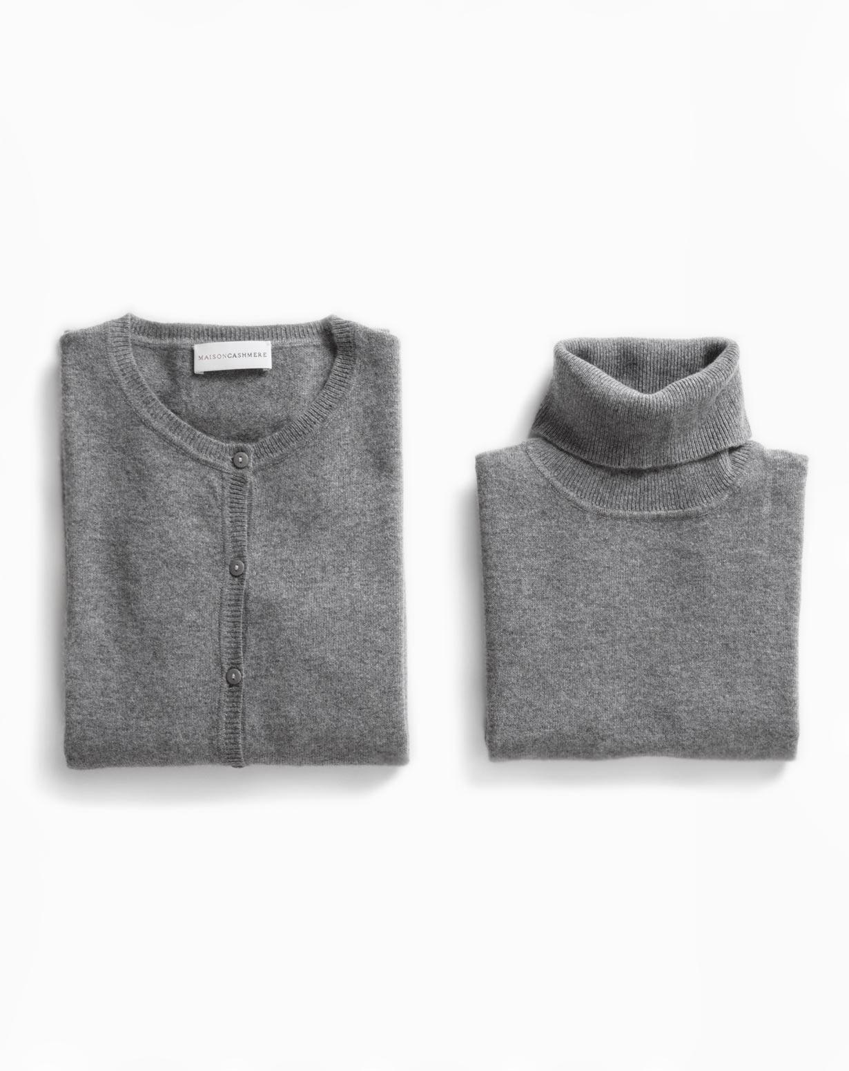 Ladies' Dark Grey Twinset - Cardigan & Sleeveless Polo Neck