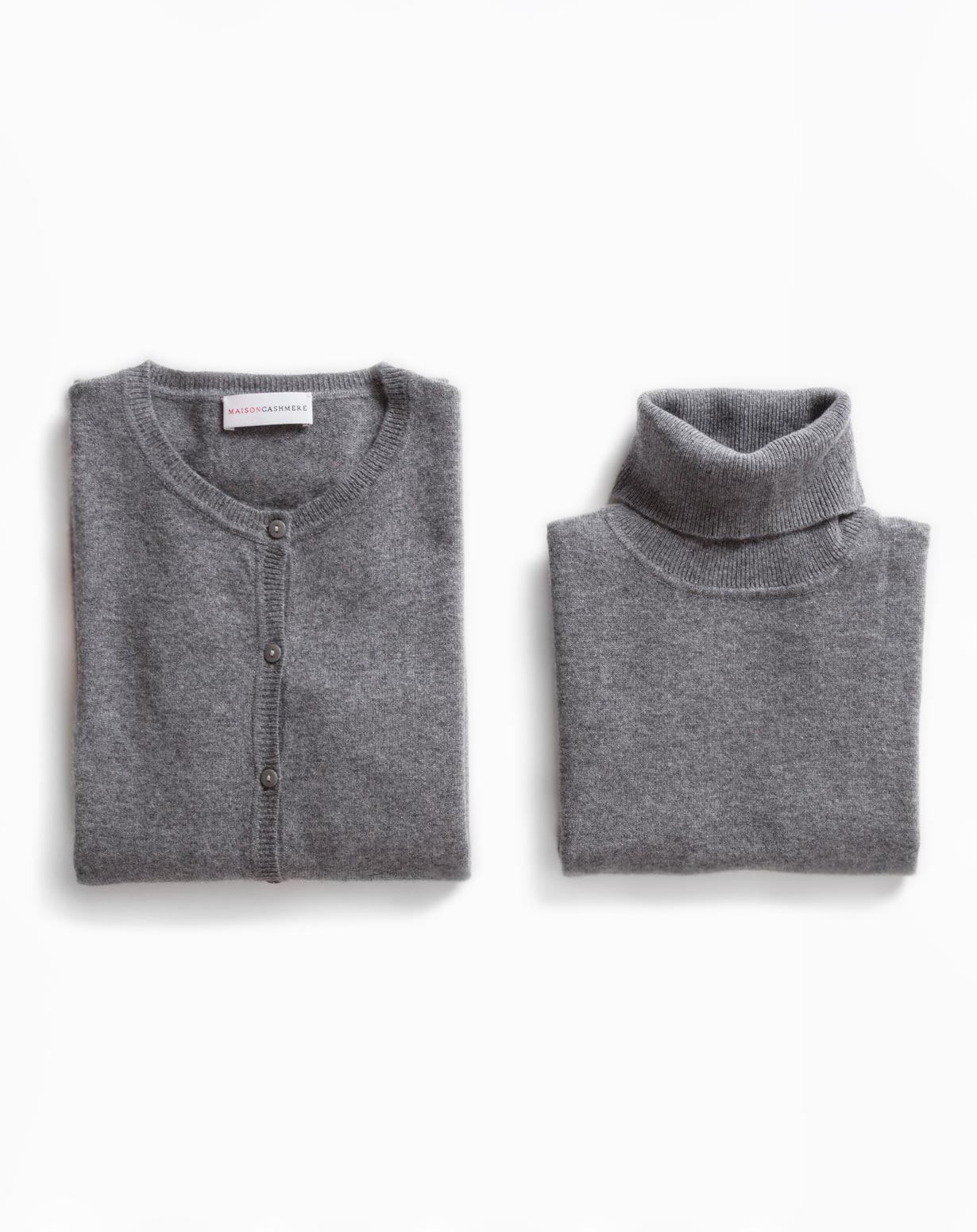 Ladies' Dark Grey Twinset - Cardigan & Sleeveless Polo Neck