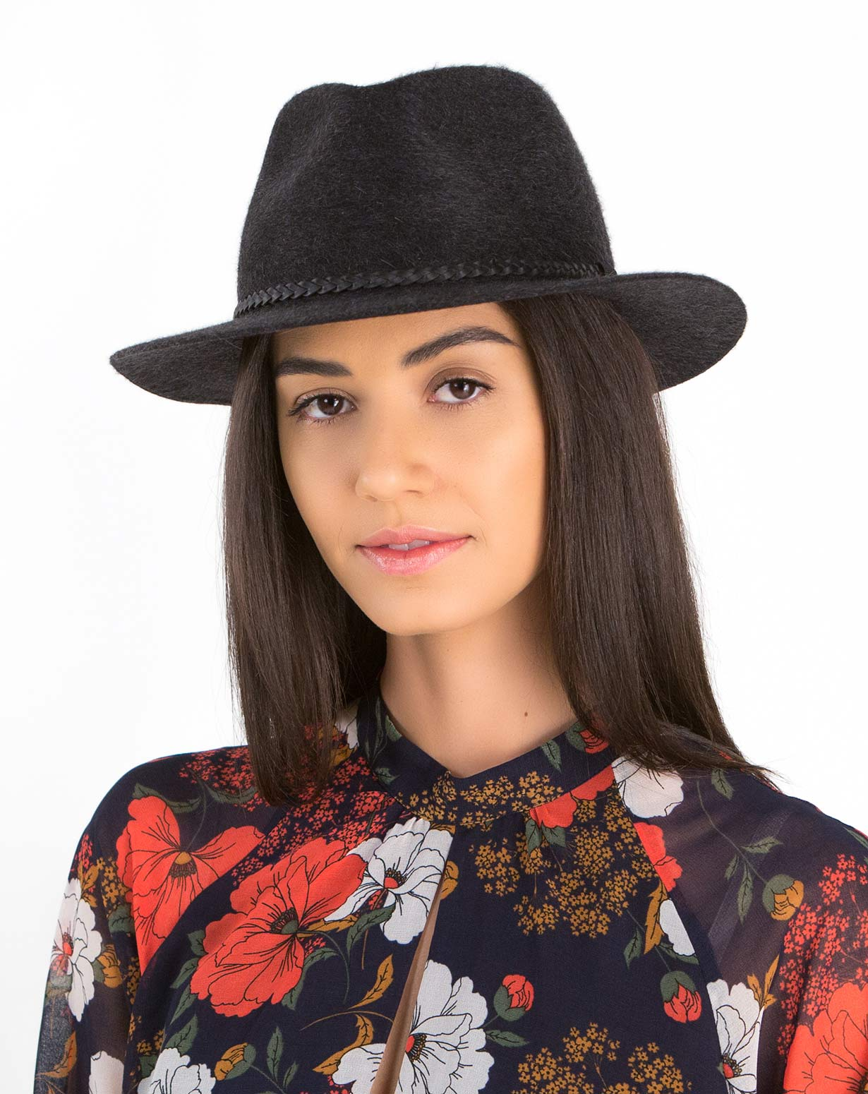 Cappello Donna Fedora Tesa Piatta in Cashmere