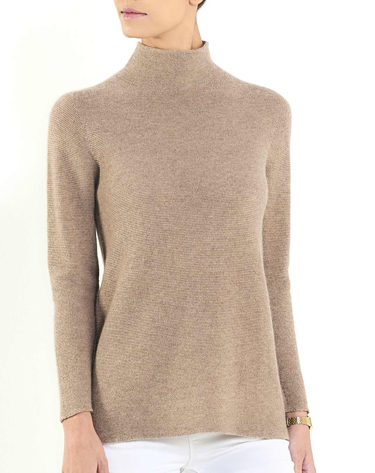 Ladies' Cashmere Links Stitch Funnel Neck