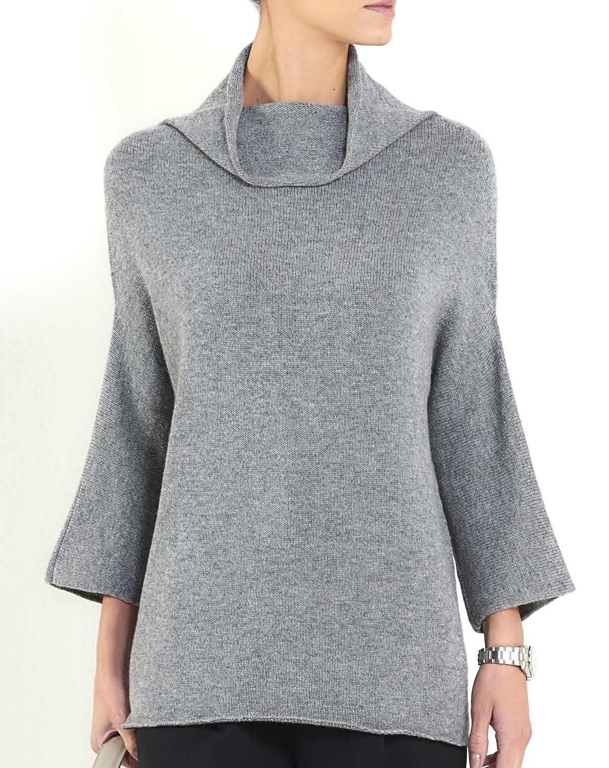 Women's Cashmere 3/4 Sleeve Cowl Neck