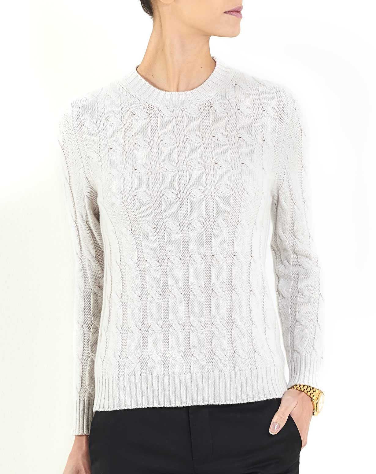 Women's Cashmere Cable Knit Crew Neck