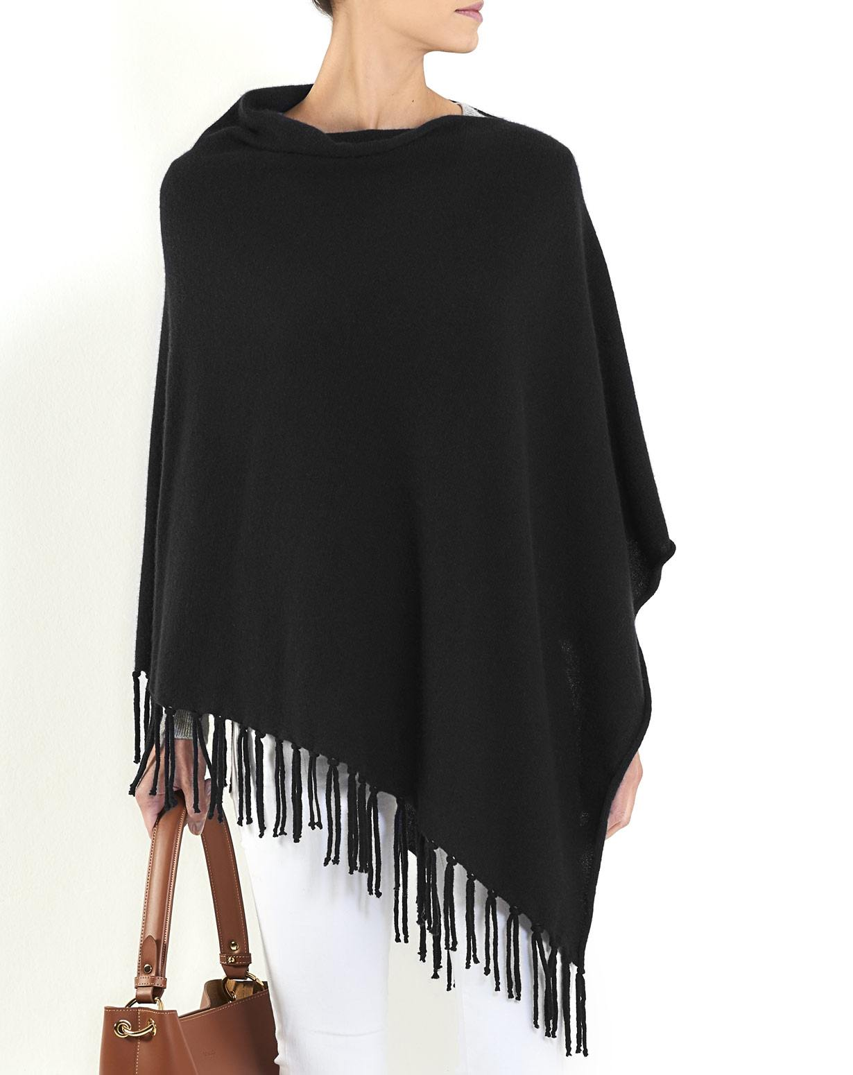 Women's Pure Cashmere Poncho with Fringes
