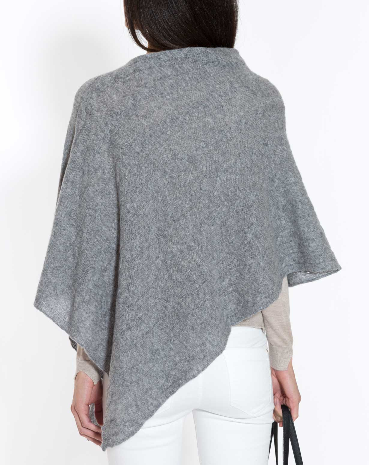 Knitting Pattern For Cashmere Poncho : Pure Cashmere Cable Knit Poncho MaisonCashmere