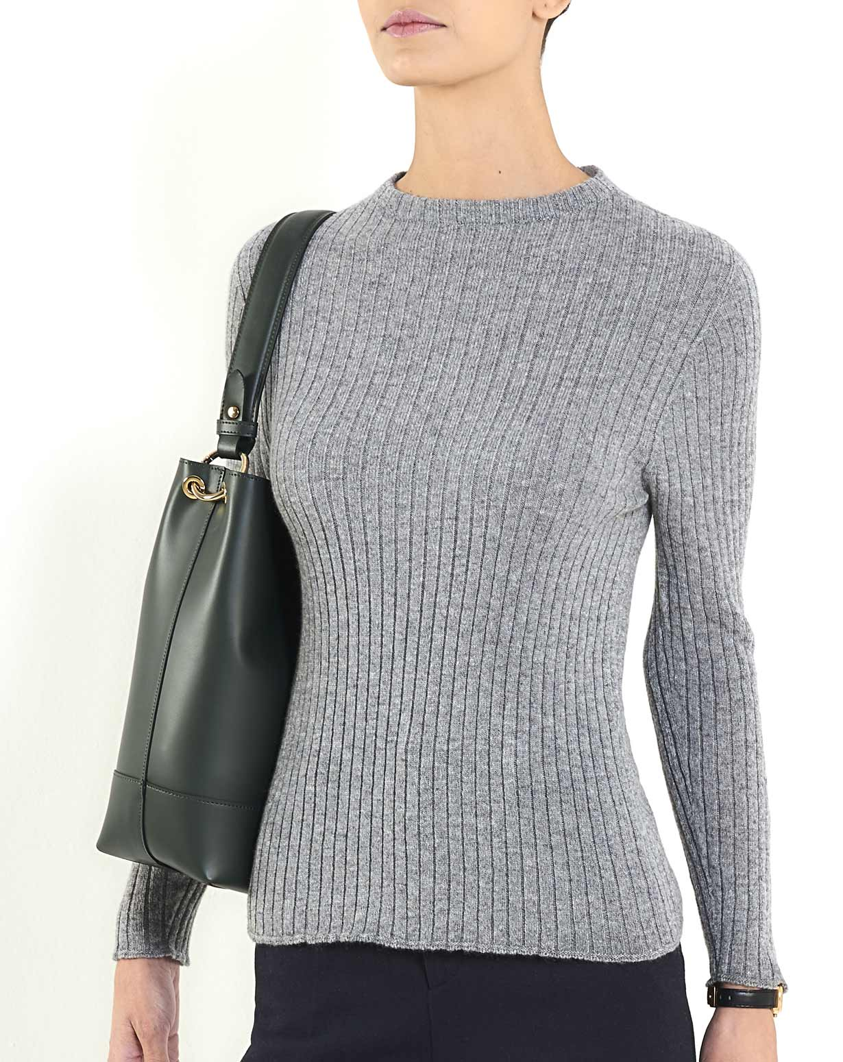 Women's Cashmere Vertical Rib Crew Neck Sweater