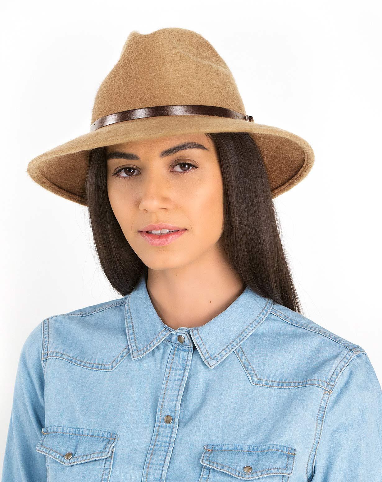 Fedora Hut mit breiter Hutkrempe in Cashmere